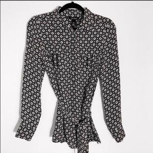WHBM   Black & White Patterned Silk Blouse 4